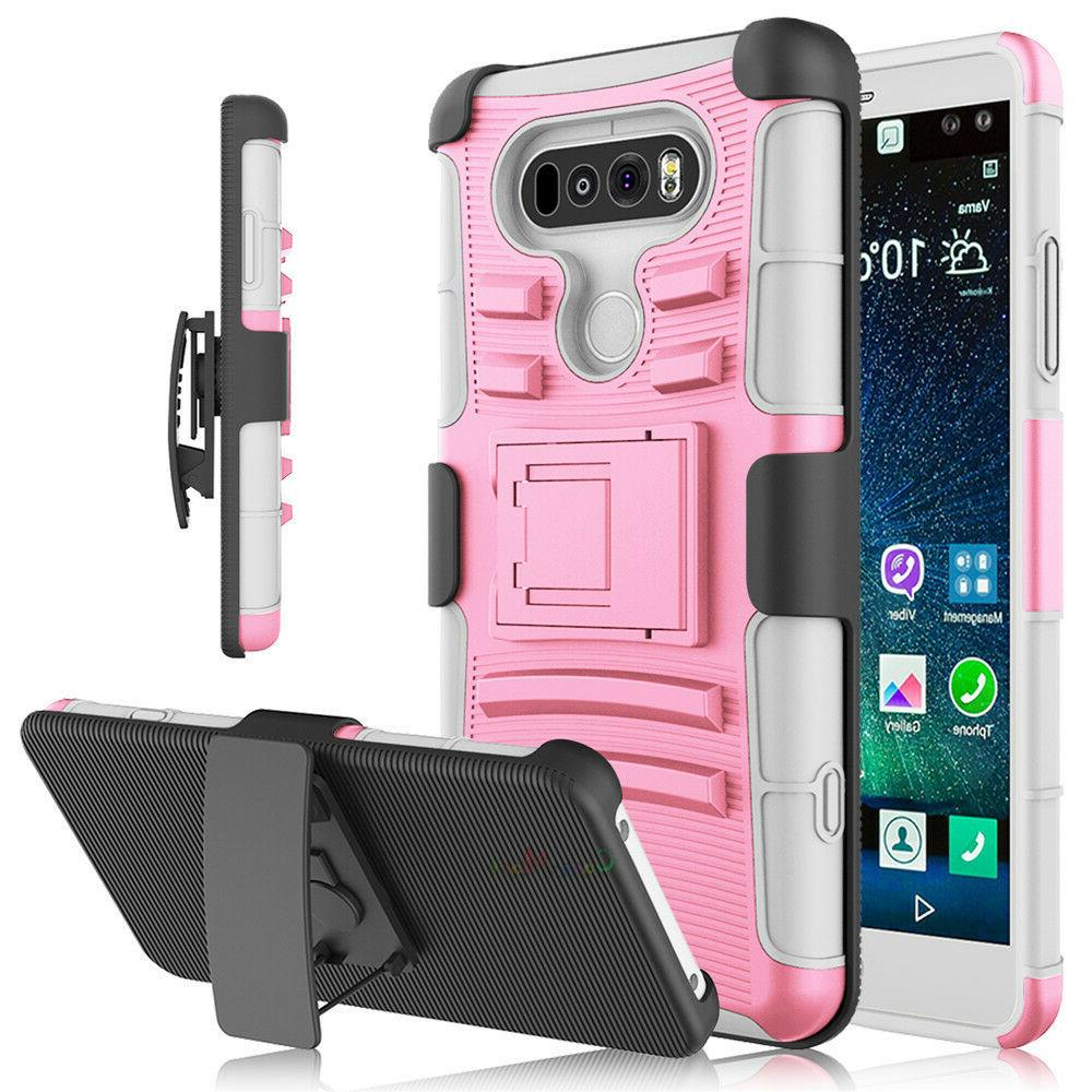 For V20 Shockproof Hybrid Armor Heavy Duty Stand Case Cover