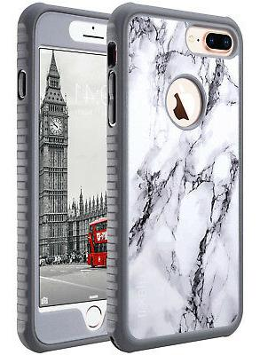 best website c2f58 94118 ULAK Marble for iPhone 8 Plus 7 Plus Case Heavy Duty Shockproof TPU Bumper  Cover