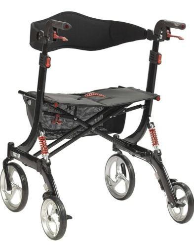 Drive Medical Heavy Nitro Euro Style Walker Rollator, Black
