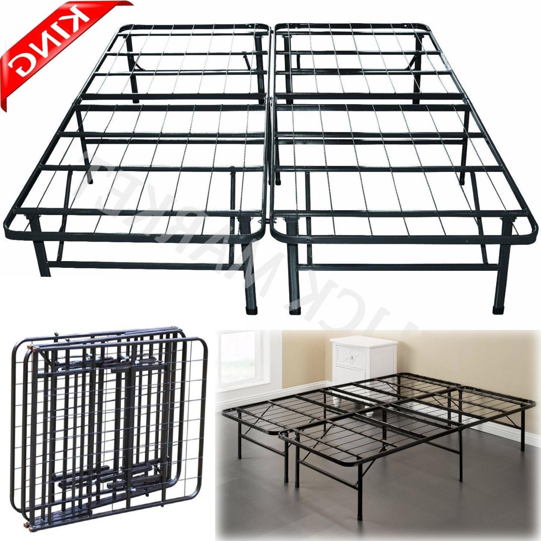 KING Size Metal Bed Frame Heavy Duty Folding Platform Mattre