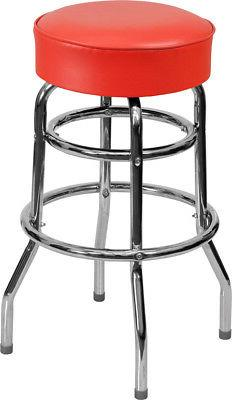 NEW HEAVY DUTY RED VINYL 2 RING SWIVEL SEAT METAL BAR STOOLS