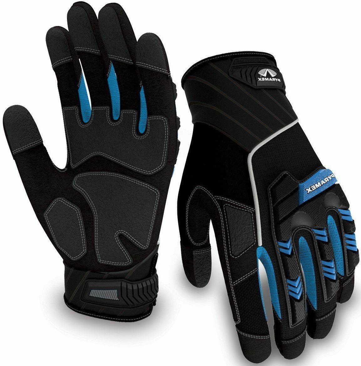 Pyramex Safety GL201 Heavy Duty Impact Work Gloves, Blue, Me