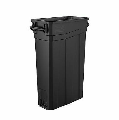 slim trash can with handles black 23