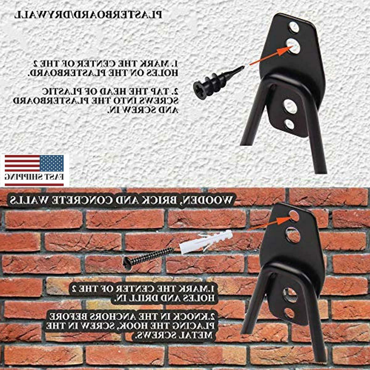 Steel Garage Storage Double Hooks, Easy Install Wall Mount Duty