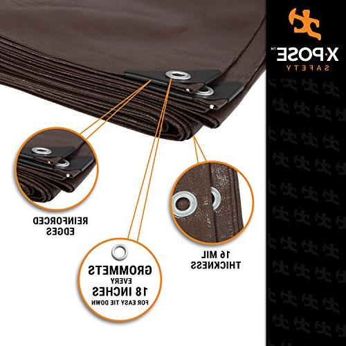 10' Heavy Brown Poly - Thick Resistant, Tear Proof Tarpaulin Grommets and Reinforced - by