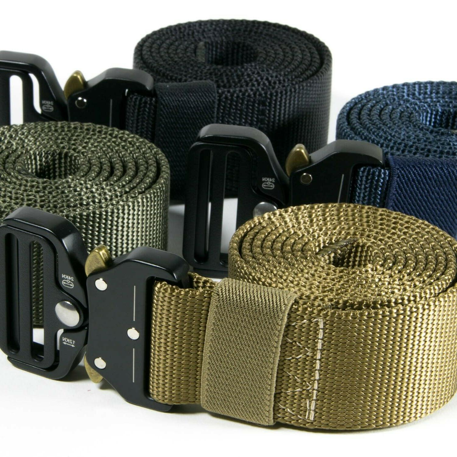 tactical belt mens heavy duty nylon metal