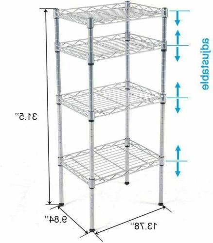 Utility Unit 4 Shelf Duty Wire Metal Rack