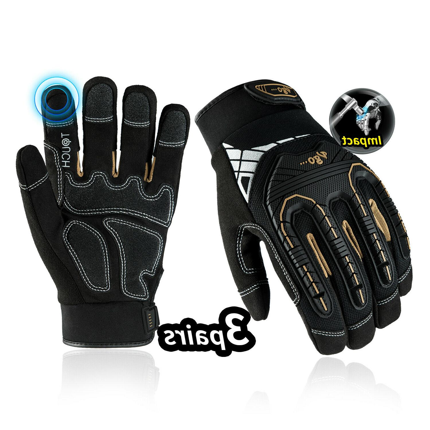 Vgo 3Pairs Heavy Duty Impact-Absorb Work Gloves Rigger Glove