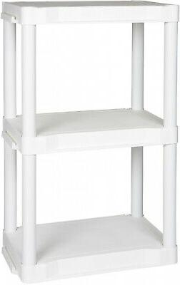 White Heavy Duty 3-Tier Plastic Storage Rack Home Office Ver