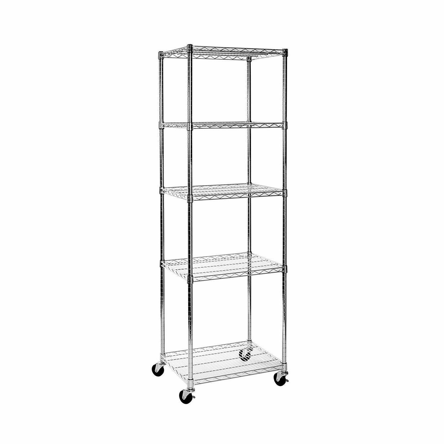 wire shelving rack with wheel storage organizer