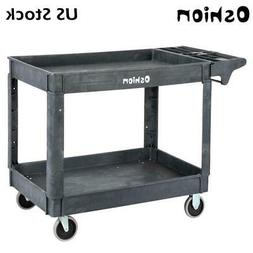 Large 2 Shelf Heavy Duty Utility Cart with Wheels for Tools