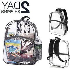 Large Heavy Duty Clear Backpack PVC Plastic Bag School Offic