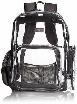 Large Heavy Duty Clear Backpack with Laptop Sleeve and Secur