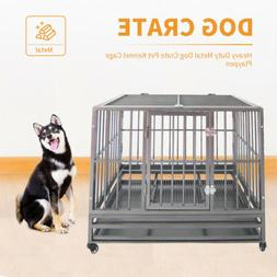 Large Heavy Duty Metal Dog Crate Pet Kennel Cage Playpen w/