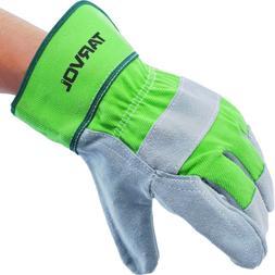 leather work garden gloves heavy
