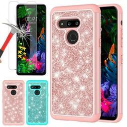 For LG G8 ThinQ G820 Phone Case Bling Rubber Hybrid Heavy Du