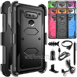 For LG V20 Shockproof Hybrid Rubber Armor Heavy Duty Belt Cl