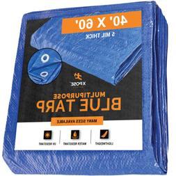 Lightweight Blue Poly Tarp 40' x 60' - Multipurpose Protecti