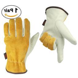 Men Cowhide Leather Work Gloves Grip & Flexible for Heavy Du