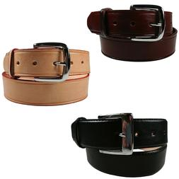 "Men's Heavy Duty Genuine Leather Belt 1 1/2"" Wide Three Colo"