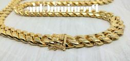 Mens Miami Cuban Link Chain HEAVY 14k 18K Gold Plated Stainl