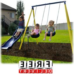 Metal Swing Set Playground Slide Trapeze Heavy Duty Backyard