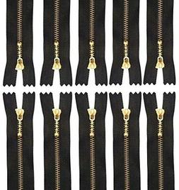 Metal Zippers - Heavy Duty Close-end Gold Zips For Sewing -