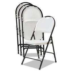 Alera Molded Resin Folding Chair, White/Black Anthracite, 4/