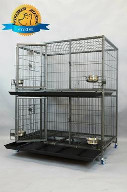 """New 37"""" and 43"""" Two Tier Heavy Duty Metal Dog Cat Pet Crate"""