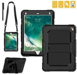 New iPad Case Heavy Duty Hard Case Kickstand Shoulder Strap