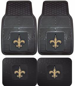 New Orleans Saints Heavy Duty Floor Mats 2 & 4 Pc Sets for C