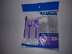 NEW PARTY HEAVY DUTY CLEAR PLASTIC 48 PIECE CUTLERY SET SPOO