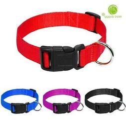 Nylon Webbing Dog Collar Heavy Duty Clip Buckle Pet Collar f