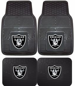 Oakland Raiders Heavy Duty Floor Mats 2 & 4 Pc Sets for Car