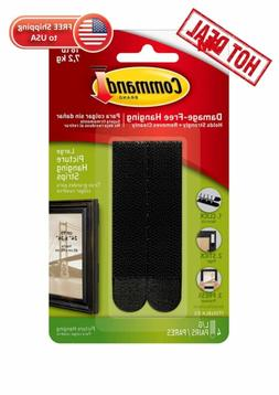 Command Picture Hanging Strips Heavy Duty, Large, Black, 4-P