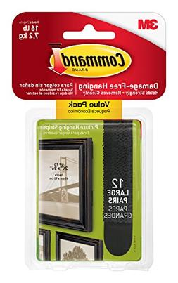 Command Picture Hanging Strips Value Pack, Large, Black, 12-