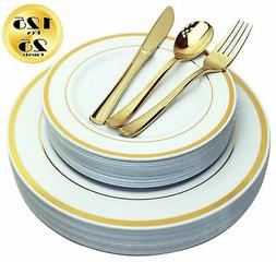 125 Piece Plastic Plates with Gold Rim & Cutlery Set Service