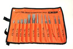 Neiko Punch and Chisel Set with Carrying Pouch - 12 Pieces