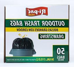 Ri-Pac Outdoor Trash Bags 30 Gallon, Drawstring