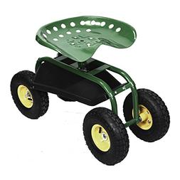 Rolling Garden Cart Work Seat with Heavy Duty Tool Tray Gard