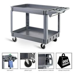 Rolling Utility Cart Plastic Heavy Duty Shelves Service Indu