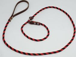 Rope Dog slip Leash Red and Black With Leather Handle 1/2 x
