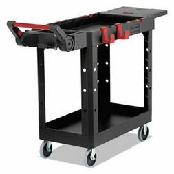 Rubbermaid 1997206 Heavy Duty Utility Cart, 2 Shelves, Black