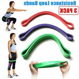 Set of 3 Heavy Duty Resistance Band Loop Exercise Yoga Worko