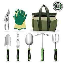 8 piece stainless steel garden tools set with garden gloves