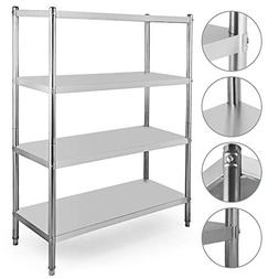 Happybuy Stainless Steel Shelving Units Heavy Duty 4 Tier Sh