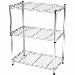 AmazonBasics Standing Shelf Units 3-Shelf Shelving Unit Chro