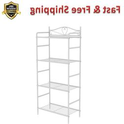 Standing Shelf Units 4 Shelve White Heavy Duty Metal Storage