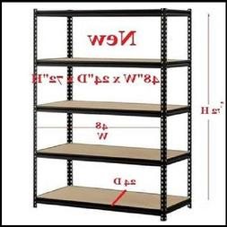 Steel Metal Storage Shelf Garage Heavy Duty 5 Shelves Adjust