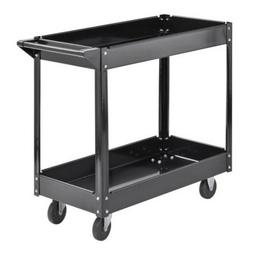 Steel Service Cart Black Tool Trolley Garage Wheels Casters